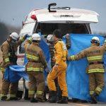 O helicóptero de salvamento com nove pessoas caiu em montanhas cobertas de neve durante um voo de treinamento. (Daisuke Suzuki / Notícias Kyodo via Associated Press)