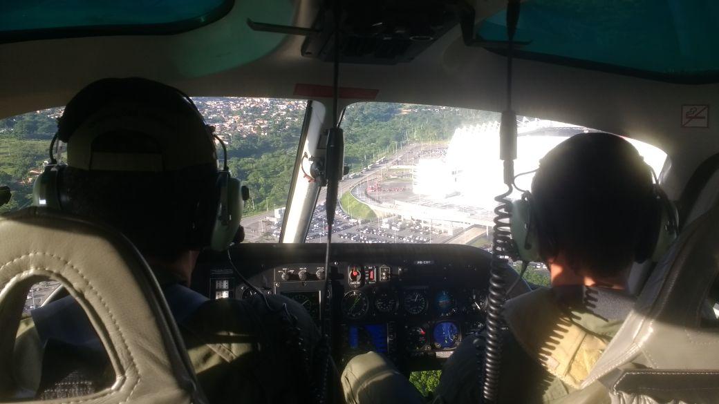 Imagem da Arena vista do helicóptero Falcão 03 do GTA durante o patrulhamento.