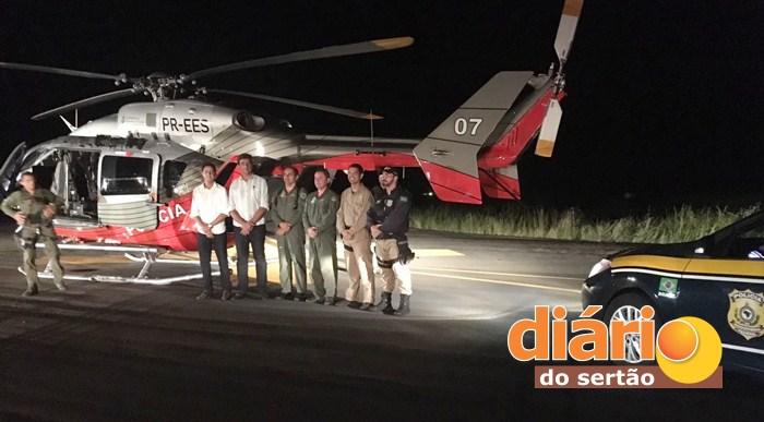 Bebê foi transferido em um helicóptero da CIOPAer da Paraíba para um hospital no Ceará (foto: Diário do Sertão)