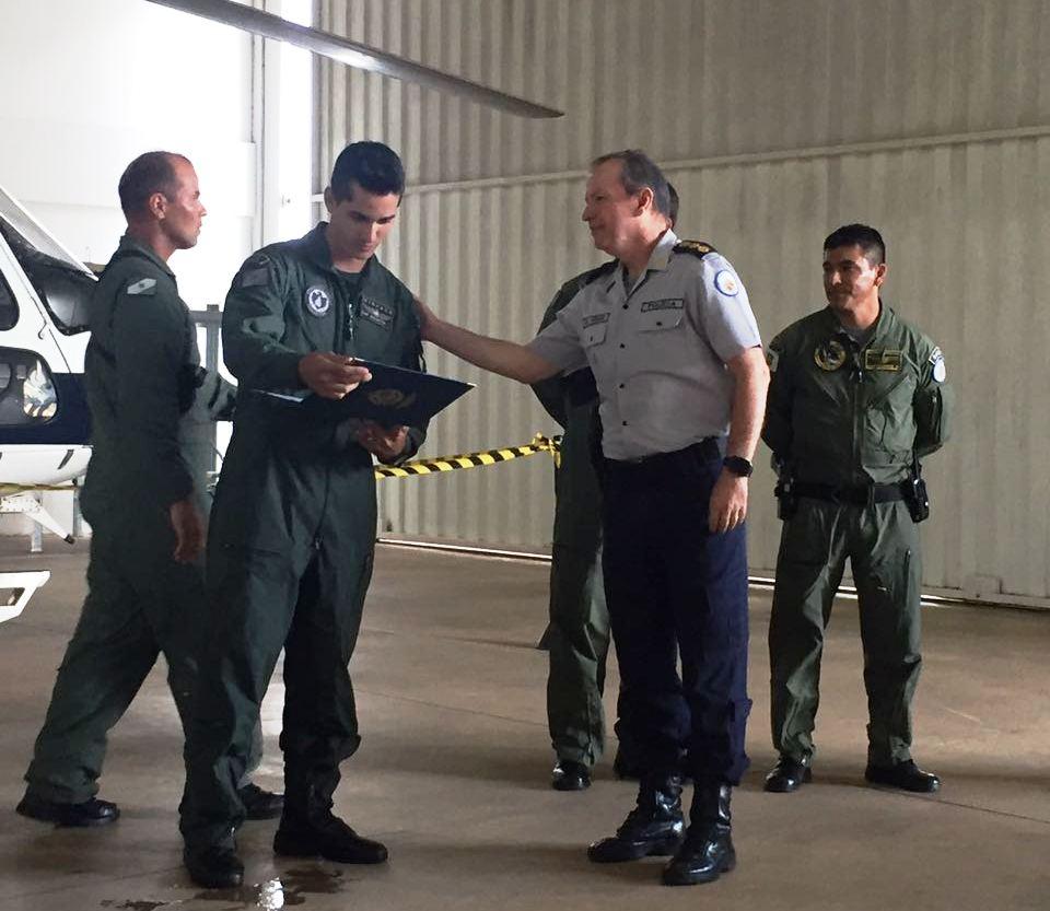 CAP PM Bolentini após longa preparação é declarado Comandante de Helicóptero Policial