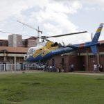 O helicóptero da Secretaria de Segurança Pública (SSP) foi acionado e retirou a vítima do local. Foto:  Emerson Silva.