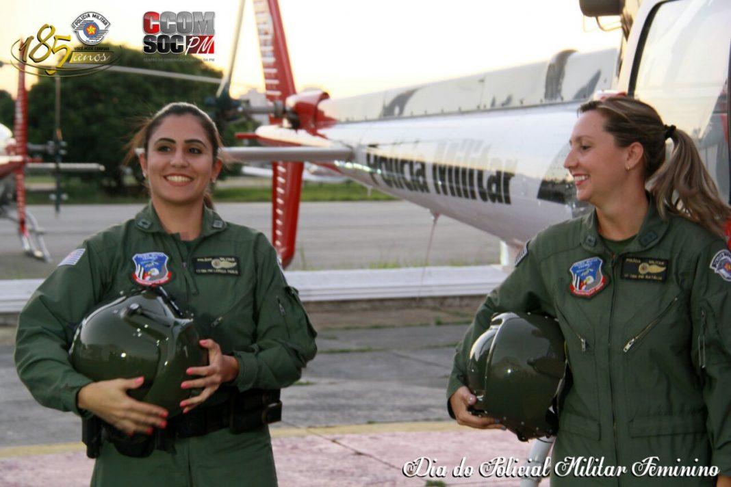Mulheres que pilotam os helicópteros Águia da Polícia Militar.