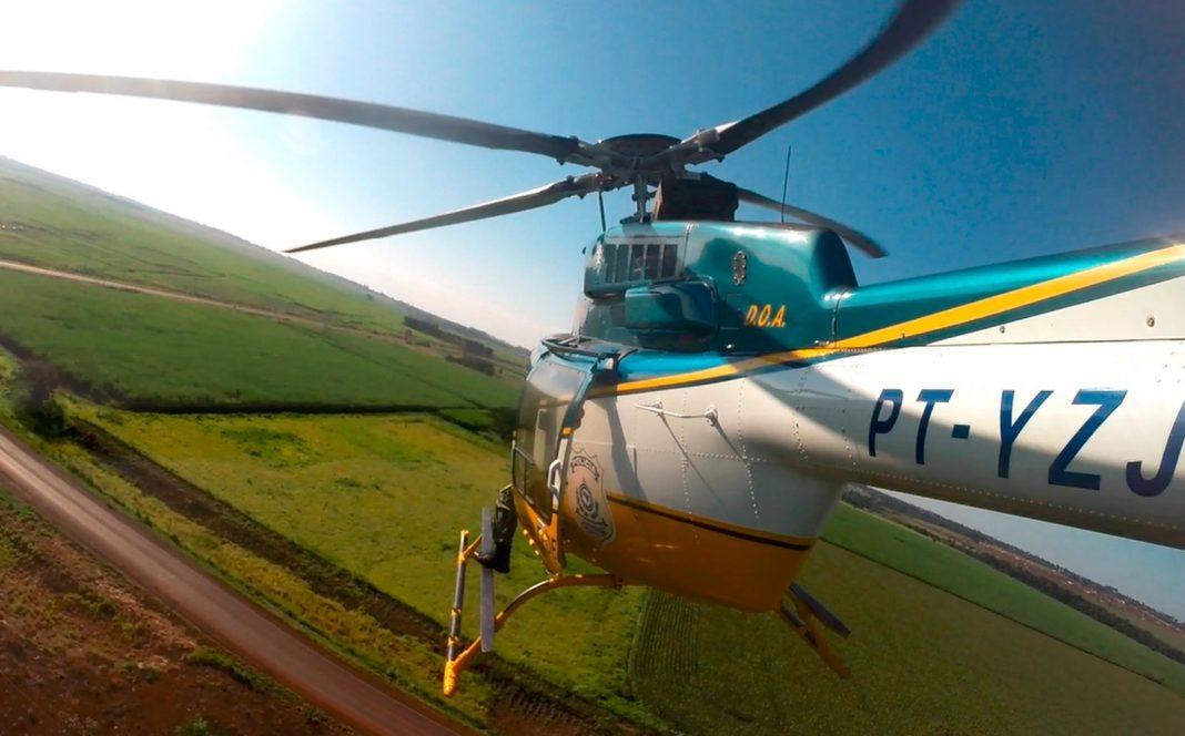 PRF realizou fiscalização aérea com helicóptero (Foto: PRF/Divulgação)