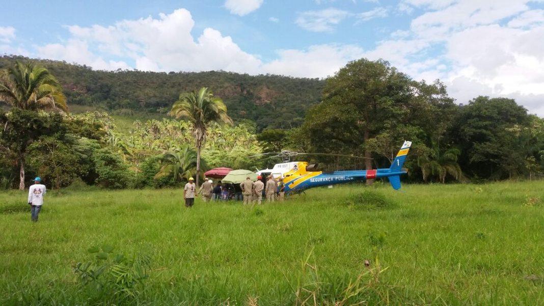 Militar foi resgatado pelo helicóptero da SSP (Foto: Nathália Henrique/TV Anhanguera)