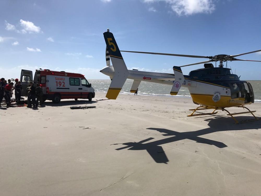 Atendimento foi feito pela equipe médica do Serviço de Atendimento Móvel de Urgência (Samu), que requisitou helicóptero da PRF (Foto: Divulgação/PRF)