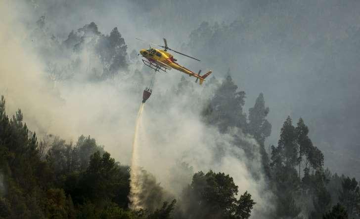 """© MIGUEL RIOPA/ Getty Images Cartéis, esquemas e estado dos helicópteros. Os """"negócios do fogo"""" revelados nesta entrevista."""