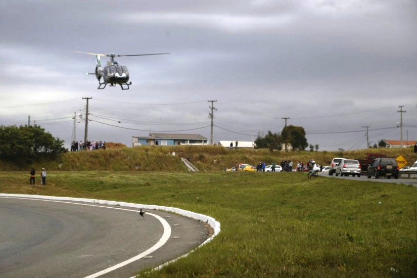 BPMOA faz resgate aeromédico de vítima de acidente no Contorno Norte. Foto: Átila Alberti.