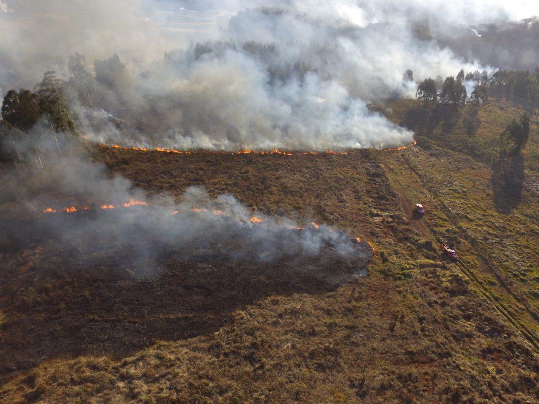 Drone ajuda bombeiros no combate a incêndio em vegetação na cidade de Chapecó. Divulgação CBMSC.