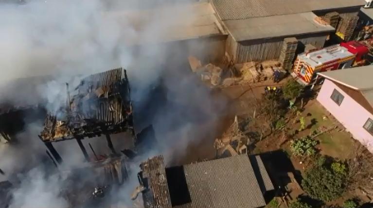 Imagem aérea do drone utilizado pelo Corpo de Bombeiros de Santa Catarina.
