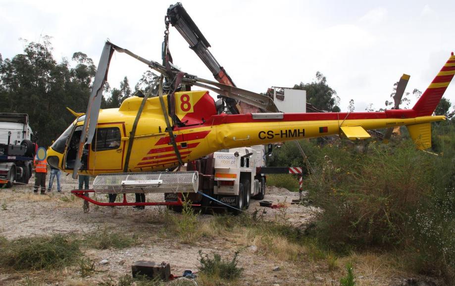 O helicóptero depois de retirado da lagoa