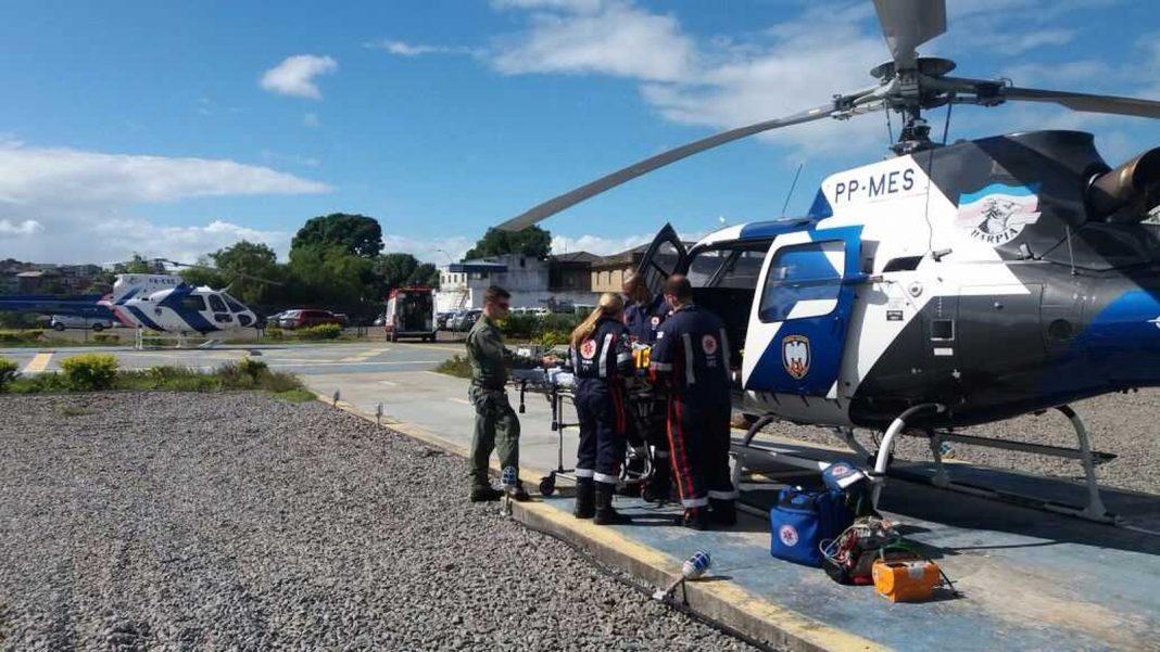 Criança sofre traumatismo craniano e é resgatada por helicóptero (Foto: Divulgação / Polícia Militar)