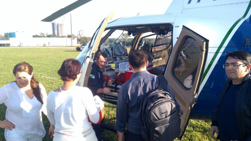 Helicóptero do Samu de Maringá realiza transporte de órgãos de Cianorte para Londrina