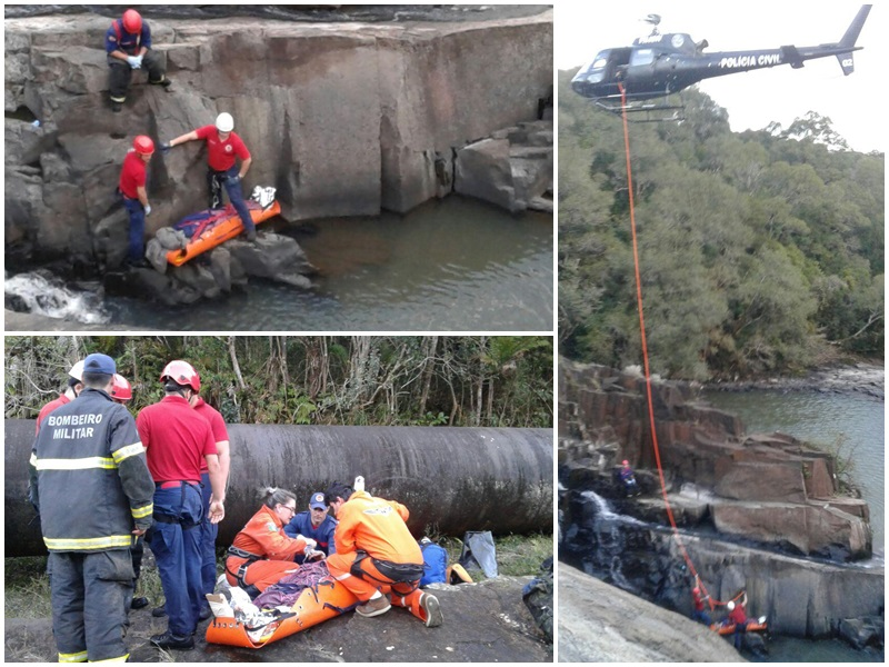 Homem precisou ser resgatado com o auxílio de um helicóptero (Fotos: Corpo de Bombeiros)