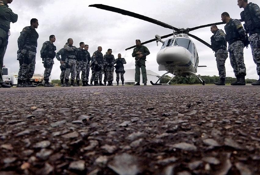15º BPM participaram de um treinamento no Batalhão de Aviação da BM (BAvBM). Foto: Divulgação.