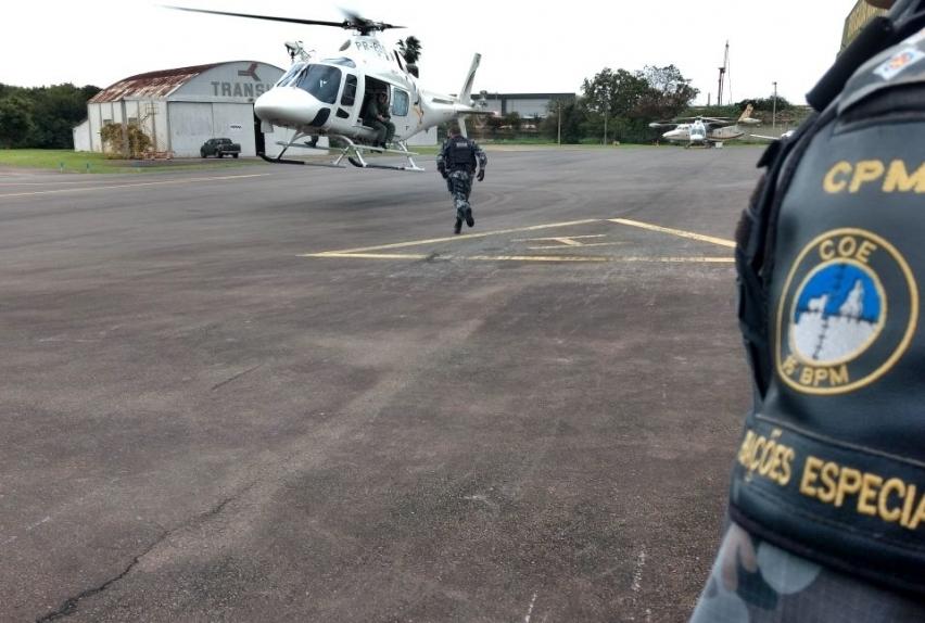 Helicópteros ajudam nas operações integradas em Canoas. Foto: Divulgação.