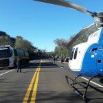 """Grave acidente na BR-487 movimentou equipes de resgate inclusive o helicóptero """"Saúde 03"""" do SAMU. Foto: Dr. Mauricio Lemos."""