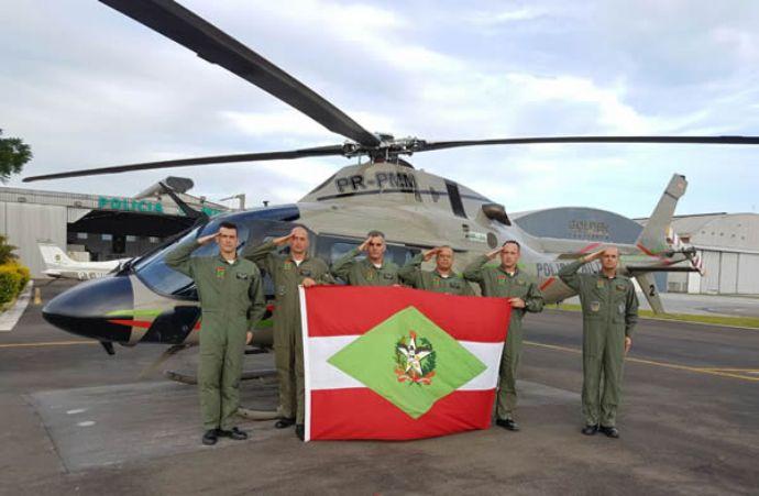 Batalhão de Aviação da PM de Santa Catarina tem novo comandante de aeronave.