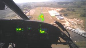 Área vermelha indica a posição de maior incidência do olho do piloto.