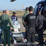 BAPM e SAER realizam transporte aeromédico de duas crianças com apoio do SAMU. Foto: Divulgação Polícia Militar.