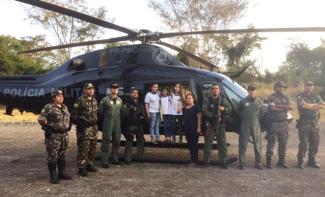 Falcão 02 localiza crianças que se perderam de grupo durante visita a parque ecológico em Goianápolis. Foto: Divulgação.