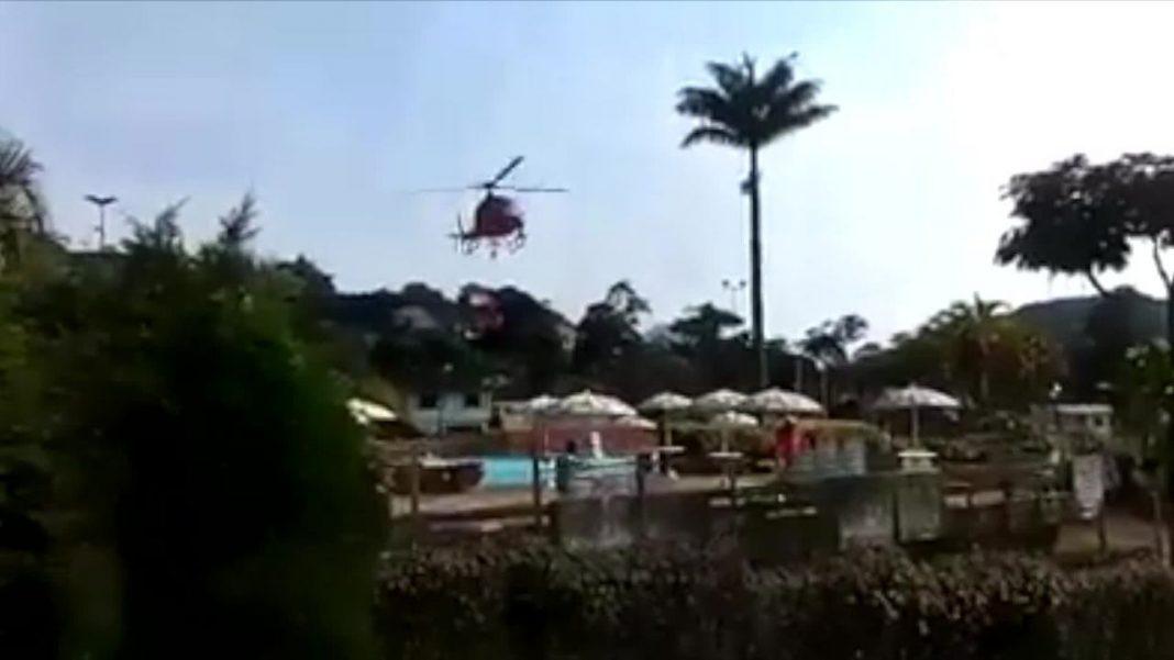 A captação de água foi feita em uma piscina próxima do incêndio.