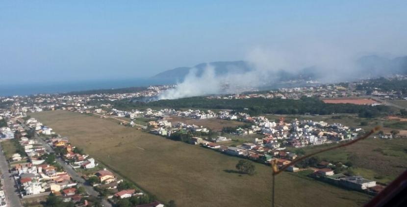 Três dias após incêndio atingir vegetação no Campeche, novo foco de fogo foi localizado - Arcanjo/Divulgação/ND