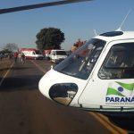 Helicóptero do SAMU resgata vítima de acidente de trânsito na PR-492