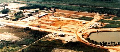 Canteiro de obras das novas instalações, foto de fevereiro de 1989