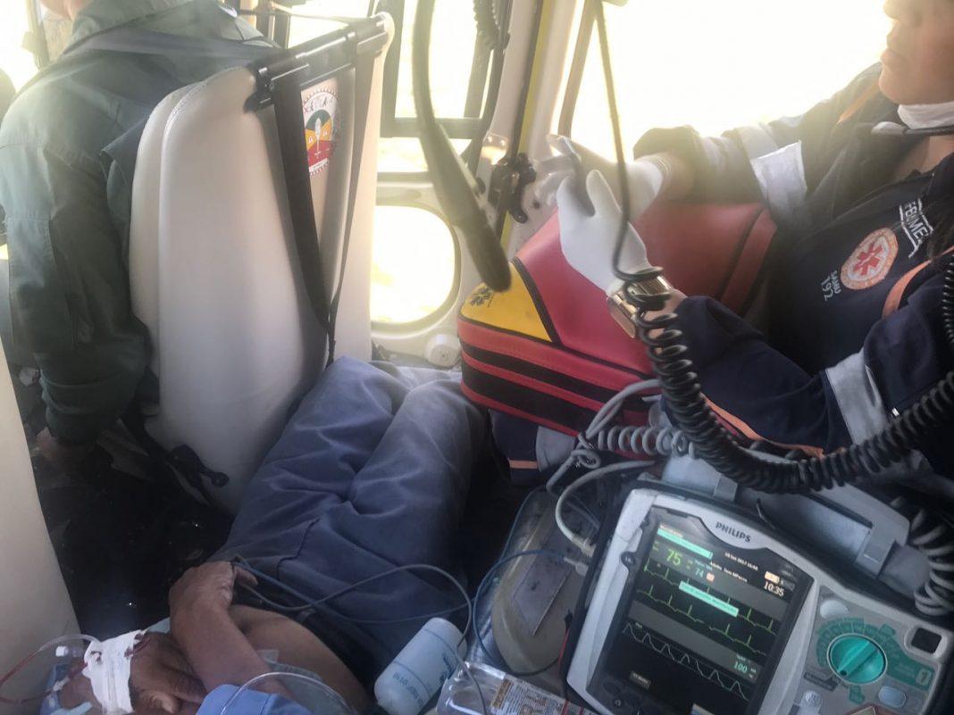 Idoso vítima de infarto é salvo pelo Grupamento Aéreo e Samu.