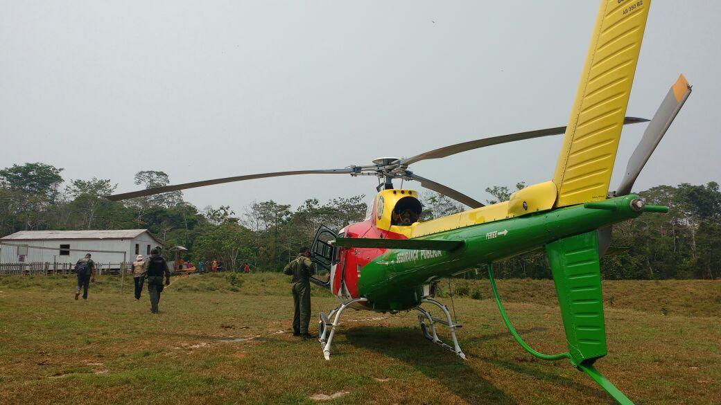 Agentes precisaram o auxílio de uma aeronave para chegar ao local (Foto: Cedida Ciopaer)