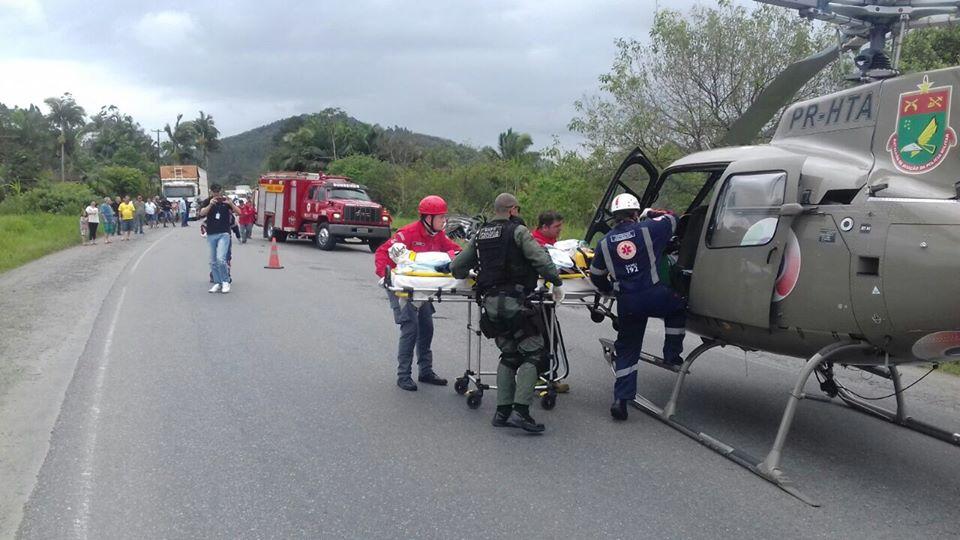atendimento a capotamento na SC 108, em Massaranduba