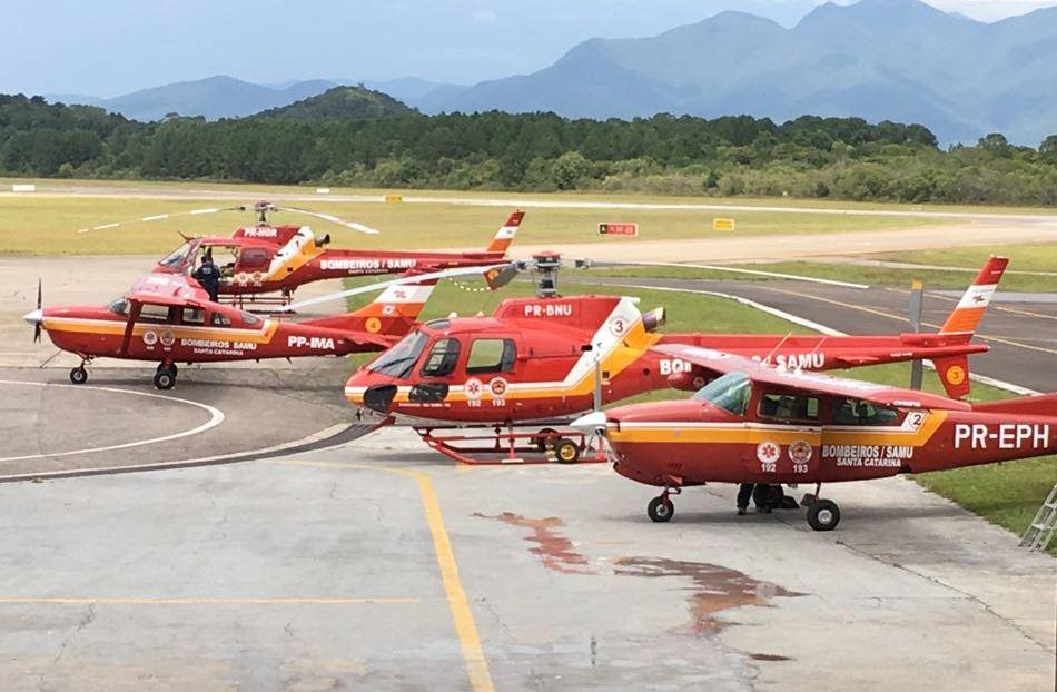 As aeronaves Arcanjo operadas pelo Batalhão de Operações Aéreas (BOA) do Corpo de Bombeiros Militar
