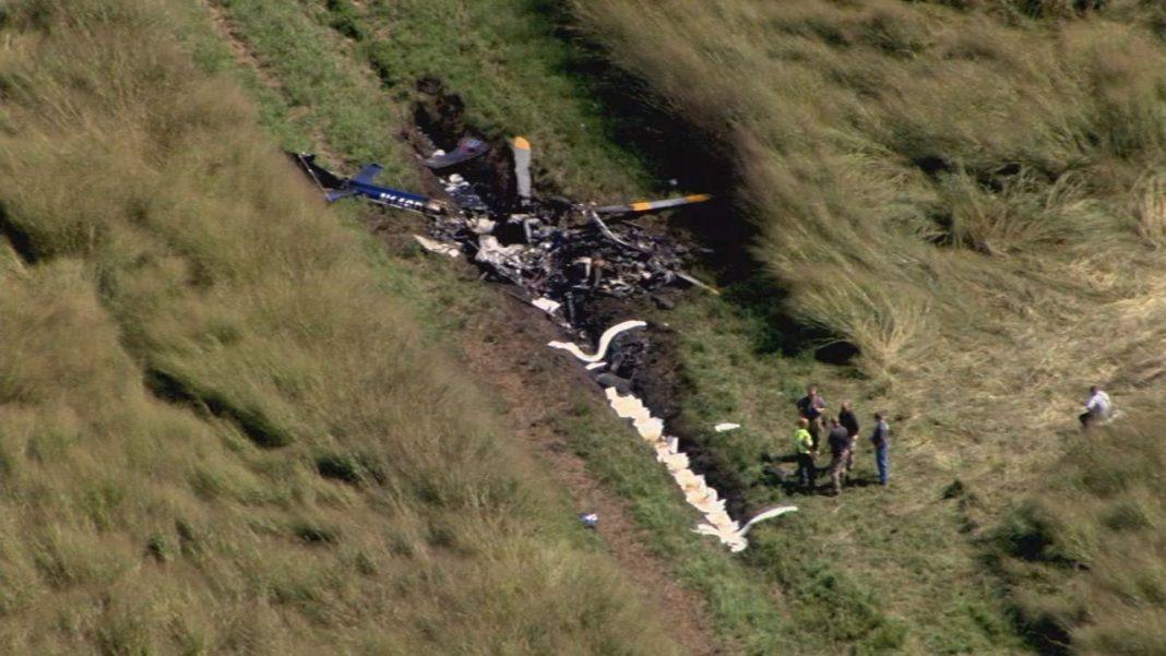 O helicóptero aeromédico caiu em um campo no condado de Perquimans perto de Belvidere. (Foto / AP)