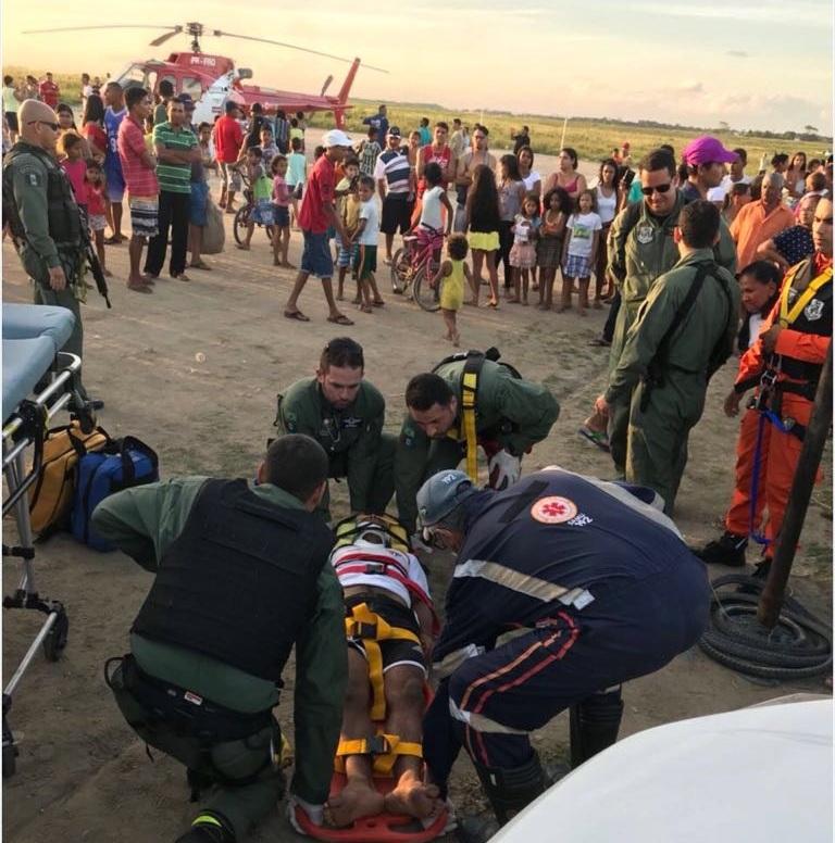 Por conta do quadro delicado, a equipe do Samu Aeromédico encaminhou o jovem para o HGE (Fotos: Ascom/SSP)