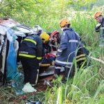 Helicóptero Saúde 03 do SAMU resgata vítima de acidente na PR-82.Foto: João Silvestrini.