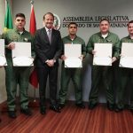 Quinta Companhia do Batalhão de aviação da PMSC recebe Moção de Aplauso na Alesc. Foto: Fábio Queiroz / Agência AL
