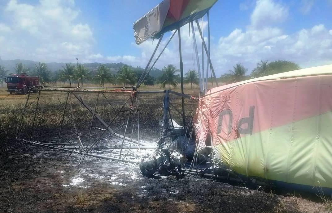GTA de Pernambuco e SAMU são acionados para resgate de vítima de acidente com ultraleve. Vítima faleceu no local.