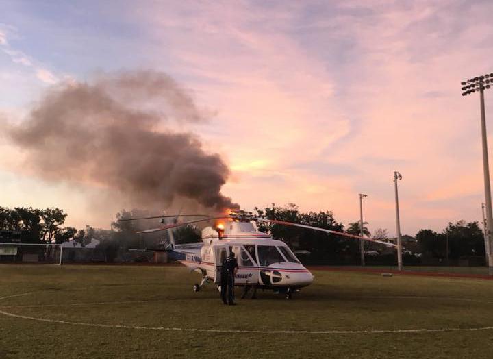 Helicóptero aeromédico do Condado de Monroe é enviado para transporte de vítima e pega fogo. Foto: Monroe County Fire Rescue