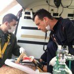 Falcão 05 fez o resgate do paciente para o Hospital Geral do Estado (HGE), em Maceió(Fotos: Cortesia / Grupamento Aéreo do Corpo de Bombeiros)