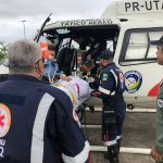Helicóptero do GTA/SE transporta paciente grave do Hospital Regional de Lagarto