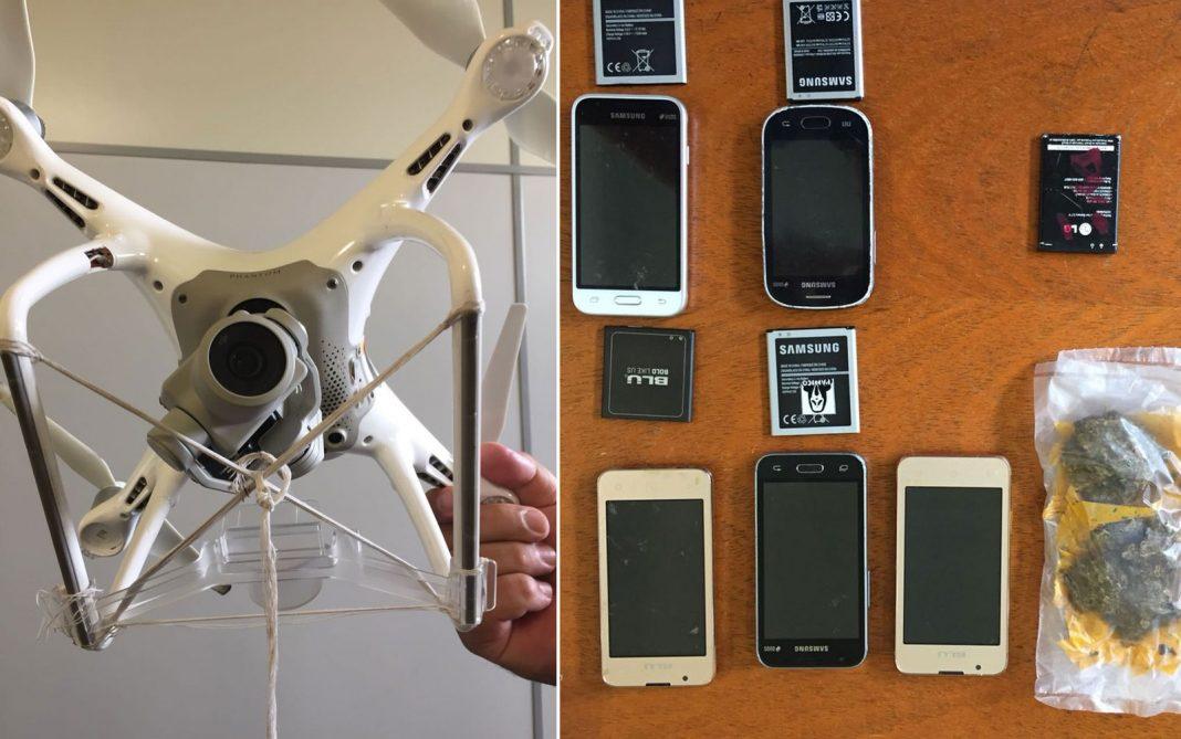 Drone foi interceptado quando transportava celulares e droga para presídio de SP (Foto: Divulgação/Secretaria de Administração Penitenciária)