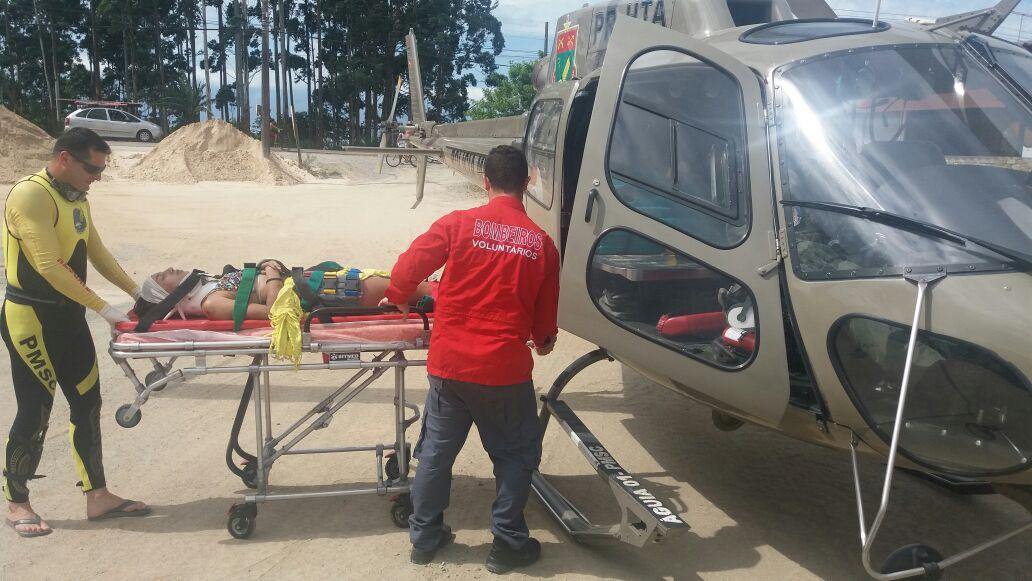 Equipe do Águia 01 atendeu uma vítima de acidente de trânsito na SC-415