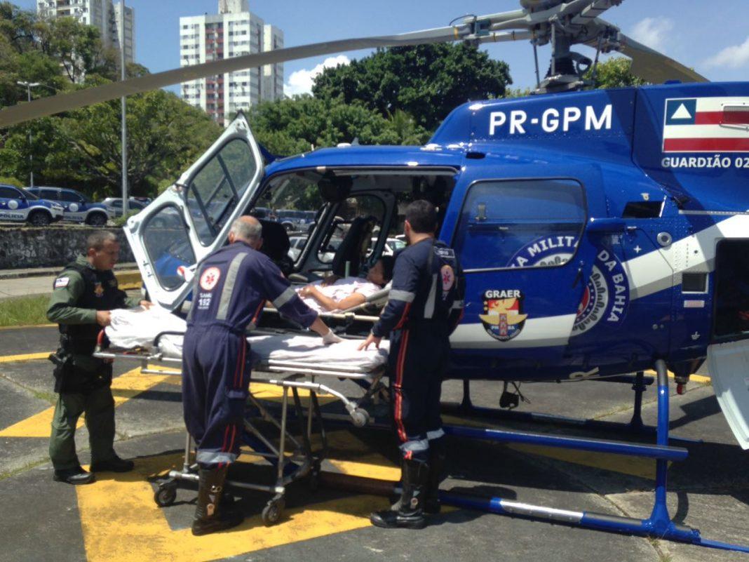 Grupamento Aéreo da PM da Bahia socorre duas vítimas de infarto nos primeiros dias do ano. Foto: Divulgação SSP