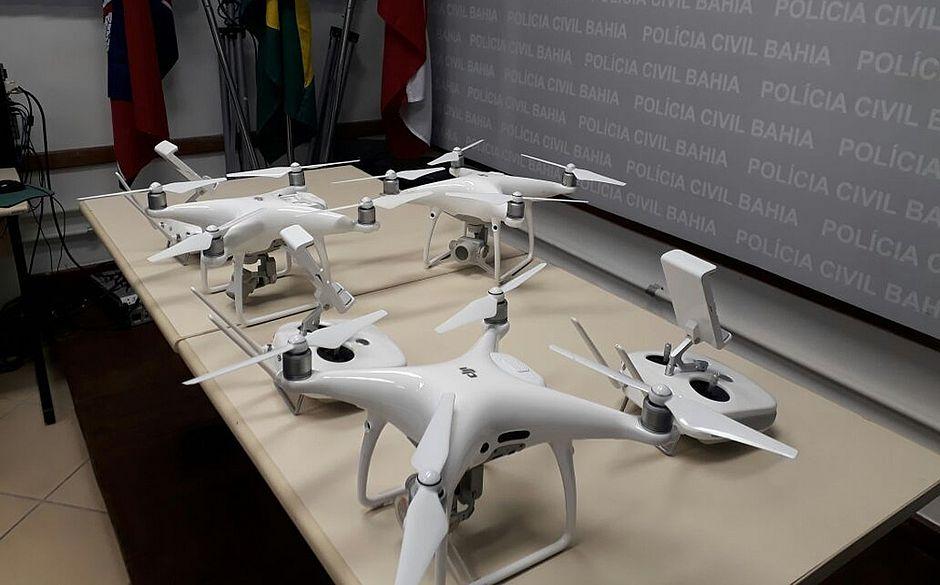 Três drones apreendidos pela Policia nas cidades de Barreiras e Porto Seguro, no interior da Bahia.