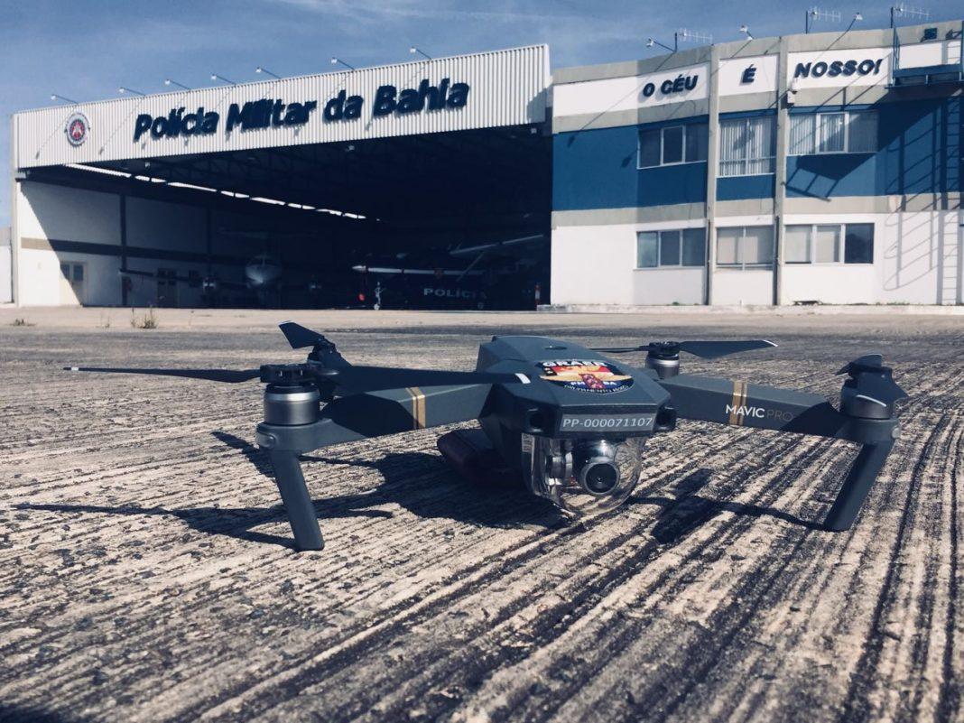Drone utilizado pelo GRAER da PM da Bahia. Foto: Divulgação.