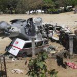 Aspectos do acidente aéreo em Jamiltepec, Oaxaca. (AP)