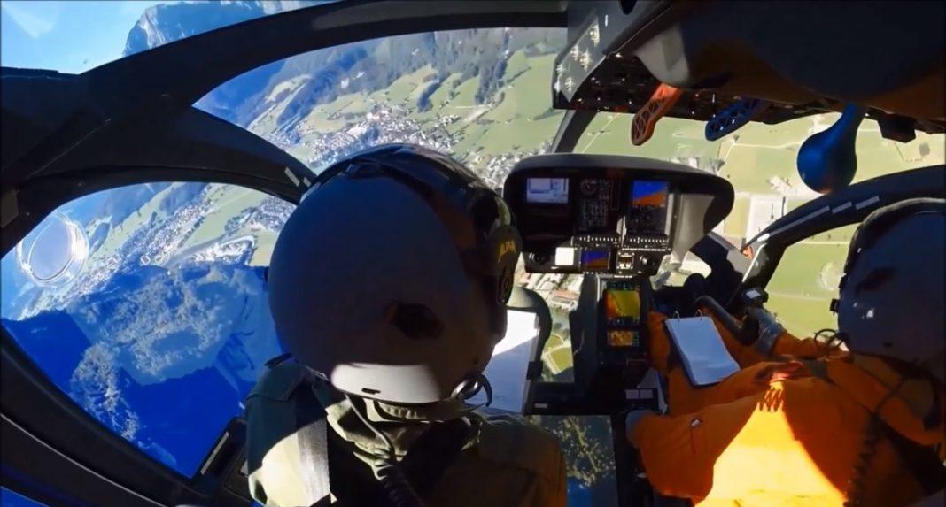 Visão dos pilotos na cabine do helicóptero monomotor SKYe SH09