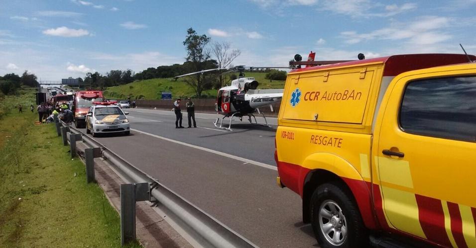 Helicóptero Águia da PM acionado para resgate na Rodovia Anhanguera, administrada pela Concessionária Autoban.