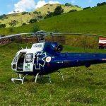 Helicóptero do SAMU socorre vítima de acidente na PR-535, em Rio Branco do Ivaí