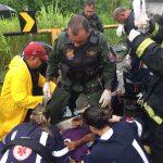 Guardião 05 do GRAER da PM da Bahia socorre vítima de acidente na BA-523, em Candeias